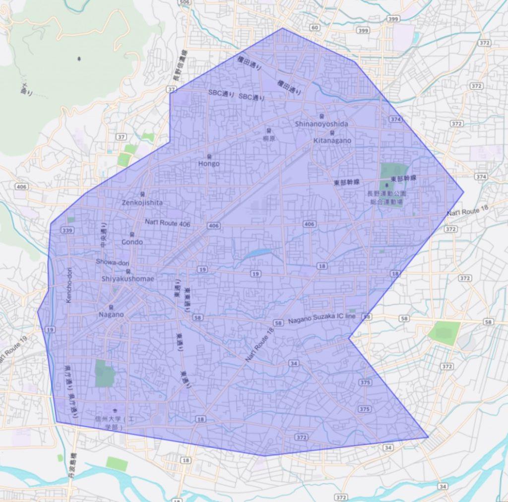 長野市のウーバーイーツのサービス提供エリア図(初期)